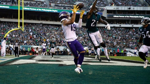 <p>               Minnesota Vikings' Adam Thielen (19) catches a touchdown against Philadelphia Eagles' Ronald Darby (21) during the first half of an NFL football game, Sunday, Oct. 7, 2018, in Philadelphia. (AP Photo/Matt Rourke)             </p>