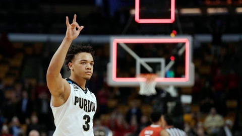 <p>               FILE - In this March 24, 2018, file photo, Purdue's Carsen Edwards leaves the court following the team's 78-65 loss to Texas Tech in a regional semifinal game at the NCAA college basketball tournament in Boston. Edwards led Purdue last season at 18.5 points per game, became the only returning starter from Purdue's Sweet 16 team after declaring for the NBA draft and wound up being the lead vote-getter on the preseason All-American team. He's also the Big Ten's preseason player of the year. (AP Photo/Charles Krupa, File)             </p>