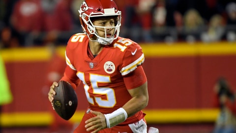 <p>               Kansas City Chiefs quarterback Patrick Mahomes (15) scrambles with the ball during the first half of an NFL football game against the Cincinnati Bengals in Kansas City, Mo., Sunday, Oct. 21, 2018. (AP Photo/Reed Hoffmann)             </p>