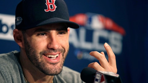 <p>               Boston Red Sox right fielder J.D. Martinez gestures as he is interviewed prior to a workout at Fenway Park, Friday, Oct. 12, 2018, in Boston. The Red Sox face the Houston Astros in baseball's American League Championship. (AP Photo/Charles Krupa)             </p>
