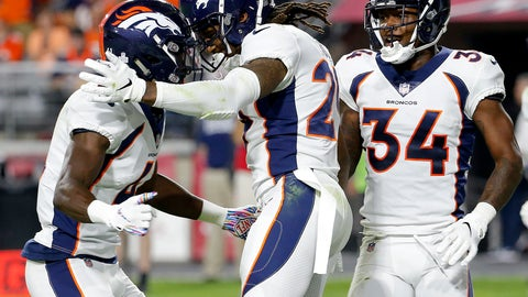 <p>               Denver Broncos cornerback Bradley Roby celebrates his touchdown against the Arizona Cardinals with cornerback Isaac Yiado, left, and defensive back Will Parks (34) during the second half of an NFL football game, Thursday, Oct. 18, 2018, in Glendale, Ariz. (AP Photo/Rick Scuteri)             </p>