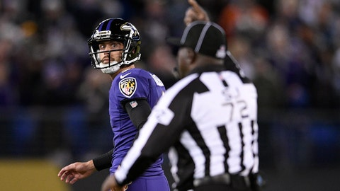 <p>               Baltimore Ravens kicker Justin Tucker, left, walks off the field after missing a point after attempt in the second half of an NFL football game against the New Orleans Saints, Sunday, Oct. 21, 2018, in Baltimore. (AP Photo/Nick Wass)             </p>