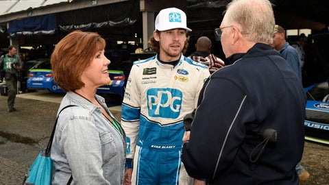 <p>               Ryan Blaney, center, stands in the garage area before practice for the NASCAR Cup series auto race, Saturday, Oct. 6, 2018, at Dover International Speedway in Dover, Del. (AP Photo/Nick Wass)             </p>