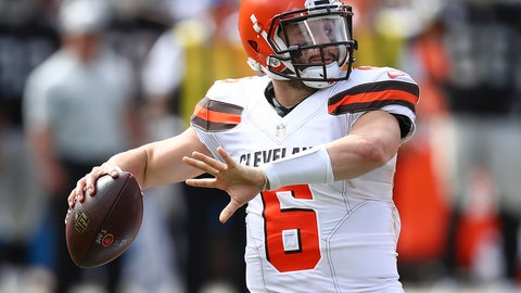 <p>               FILE - In this Sunday, Sept. 30, 2018, file photo ,Cleveland Browns quarterback Baker Mayfield (6) passes against the Oakland Raiders during the second half of an NFL football game in Oakland, Calif. Mayfield, the top overall pick in this year's draft will make his first start at home on Sunday as the Browns host the Baltimore Ravens. (AP Photo/Ben Margot, File)             </p>