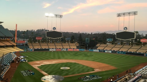 <p>               Dodger Stadium viewed on Thursday, Oct., 25, 2018, a day ahead of World Series Game 3 between the Los Angeles Dodgers and the Boston Red Sox. The Series shifted scene after the Red Sox took a 2-0 lead in the cold of Boston's Fenway Park. (AP Photo/Ron Blum)             </p>