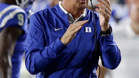 """<p>               FILE - In this Saturday, Sept. 29, 2018, file photo, Duke head coach David Cutcliffe reacts during the second half of an NCAA college football game against Virginia Tech in Durham, N.C. """"This parity in this league, I told our team, 'Welcome to the next seven games you're going to play,'"""" Duke coach David Cutcliffe said after his Blue Devils dropped their ACC opener to Virginia Tech. """"Every ACC game is going to be the same. It's going to require that you play as well as you can possibly play."""" (AP Photo/Gerry Broome, File)             </p>"""