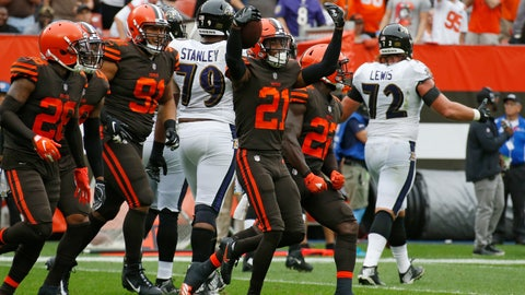 <p>               FILE - In this Sunday, Oct. 7, 2018, file photo, Cleveland Browns defensive back Denzel Ward (21) celebrates with teammates after an interception during the first half of an NFL football game against the Baltimore Ravens in Cleveland. With eight interceptions and seven forced fumbles in five games, Cleveland's defense leads the NFL with 15 takeaways, two more than the Browns recorded during 16 games in their winless 2017 season. (AP Photo/Ron Schwane, File)             </p>