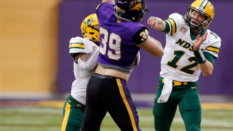 <p>               North Dakota State quarterback Easton Stick (12) has a pass tipped by Northern Iowa linebacker Duncan Ferch (39) during the first half of an NCAA college football game, Saturday, Oct. 6, 2018, in Cedar Falls, Iowa. (AP Photo/Charlie Neibergall)             </p>
