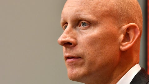 <p>               Louisville NCAA college basketball head coach Chris Mack listens to a reporter's question during the team's media day in Louisville, Ky., Friday, Oct. 19, 2018. (AP Photo/Timothy D. Easley)             </p>