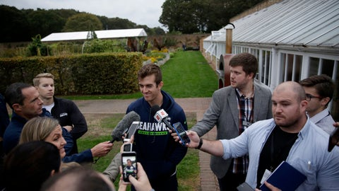 <p>               Seattle Seahawks' Australian punter Michael Dickson speaks to the media after an NFL training session at the Grove Hotel in Chandler's Cross, Watford, England, Thursday, Oct. 11, 2018. The Seattle Seahawks are preparing for an NFL regular season game against the Oakland Raiders in London on Sunday. (AP Photo/Matt Dunham)             </p>