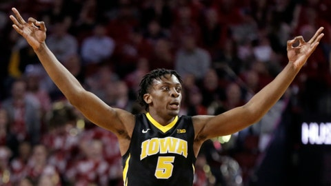 <p>               FILE - In this Jan. 27, 2018, file photo, Iowa's Tyler Cook (5) reacts after scoring a three point basket against Nebraska during the first half of an NCAA college basketball game, in Lincoln, Neb. Iowa will be one of the most experienced teams in America this winter, as it brings back its top nine scorers from a year ago. That won't matter much if the Hawkeyes play defense as poorly as they did a year ago. (AP Photo/Nati Harnik, File)             </p>