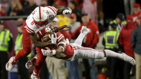 <p>               Wisconsin's D'Cota Dixon stops Nebraska's Stanley Morgan Jr. during the second half of an NCAA college football game Saturday, Oct. 6, 2018, in Madison, Wis. (AP Photo/Morry Gash)             </p>