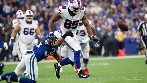 <p>               Buffalo Bills tight end Charles Clay (85) fumbles as he is hit by Indianapolis Colts defensive back Mike Mitchell (34) during the first half of an NFL football game in Indianapolis, Sunday, Oct. 21, 2018. (AP Photo/John Minchillo)             </p>