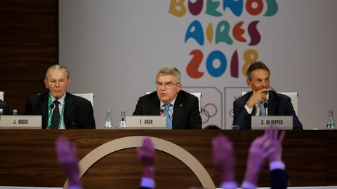 <p>               International Olympic Committee President Thomas Bach, center, leads the poll to elect Senegal to host the 2022 Youth Olympic Games during the 133th IOC session in Buenos Aires, Argentina Monday, Oct. 8, 2018. Senegal will become the first African nation to host an Olympic event. (AP Photo/Natacha Pisarenko)             </p>