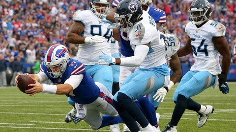 <p>               Buffalo Bills quarterback Josh Allen (17) dives in for a rushing touchdown against the Tennessee Titans during the first half of an NFL football game, Sunday, Oct. 7, 2018, in Orchard Park, N.Y. (AP Photo/Jeffrey T. Barnes)             </p>
