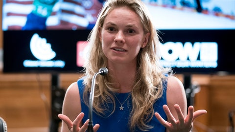 <p>               FILE - In this April 25, 2018, file photo, Winter Olympic cross-country skier gold medalist Jessie Diggins speaks about the negative impact climate change is having on winter sports, in Washington. The Minnesota Vikings, inspired in part by a speech last week from Olympic gold medalist Jessie Diggins, pushed through a draining game at Philadelphia to beat the Eagles for a critical victory. (AP Photo/Andrew Harnik, File)             </p>