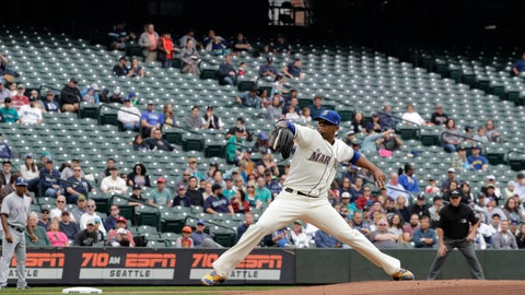 <p>               Empty seats are shown at Safeco Field as Seattle Mariners starting pitcher Roenis Elias throws against the Texas Rangers during the first inning of a baseball game, Sunday, Sept. 30, 2018, in Seattle. (AP Photo/Ted S. Warren)             </p>