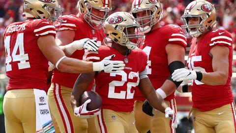 <p>               San Francisco 49ers running back Matt Breida (22) is congratulated by teammates after scoring a touchdown against the Arizona Cardinals during the first half of an NFL football game in Santa Clara, Calif., Sunday, Oct. 7, 2018. (AP Photo/Ben Margot)             </p>