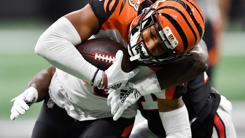 <p>               FILE - In this Sunday, Sept. 30, 2018, file photo, Atlanta Falcons defensive back Desmond Trufant (21) tackles Cincinnati Bengals wide receiver Tyler Boyd (83) during the second half of an NFL football game, in Atlanta. Boyd was a disappointment in his first two seasons, starting only three games and scoring only three touchdowns. He's emerged as the Bengals' leading receiver during their 3-1 start, with his best moments coming in their game-winning drive in Atlanta. (AP Photo/John Amis, File)             </p>