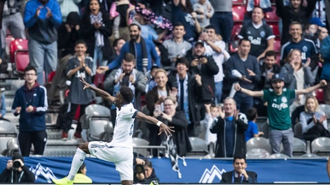<p>               Vancouver Whitecaps' Alphonso Davies celebrates his first goal against the Portland Timbers during the first half of an MLS soccer game in Vancouver, British Columbia, Sunday Oct. 28, 2018. (Darryl Dyck/The Canadian Press via AP)             </p>