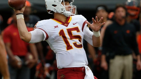 <p>               FILE - In this Saturday, Oct. 6, 2018, file photo, Iowa State quarterback Brock Purdy (15) throws in the second half of an NCAA college football game against Oklahoma State in Stillwater, Okla. Iowa State is on its third starting quarterback with true freshman Brock Purdy, who last week at then-No. 25 Oklahoma State entered on the second series. He threw for 318 yards with four touchdowns, and ran for 84 yards and another score in a 48-42 victory. (AP Photo/Sue Ogrocki, File)             </p>
