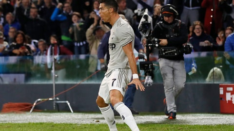 <p>               Juventus's Cristiano Ronaldo celebrates after scoring during the Serie A soccer match between AC Udinese and Juventus at the Dacia Arena Stadium, in Udine, Italy, Saturday, Oct. 6, 2018. (AP Photo/Antonio Calanni)             </p>