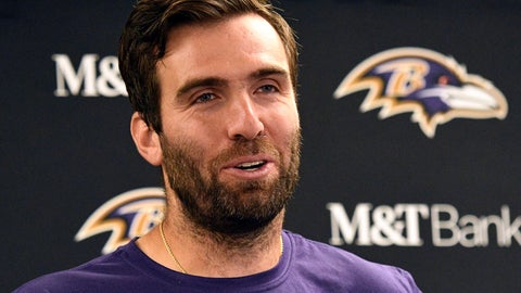 <p>               Baltimore Ravens quarterback Joe Flacco talks with reporters after a 26-14 win over the Pittsburgh Steelers in an NFL football game in Pittsburgh, Monday, Oct. 1, 2018. (AP Photo/Don Wright)             </p>