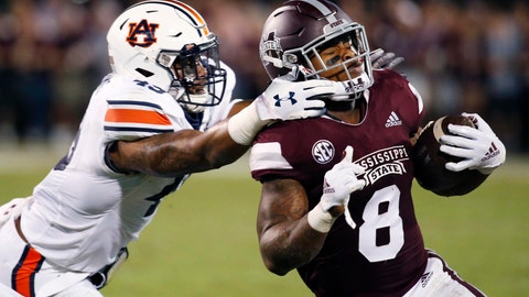 <p>               Mississippi State running back Kylin Hill (8) breaks away from a attempted tackle by Auburn linebacker Darrell Williams (49) as he runs for a first down during the first half of their NCAA college football game in Starkville, Miss., Saturday, Oct. 6 2018. (AP Photo/Rogelio V. Solis)             </p>