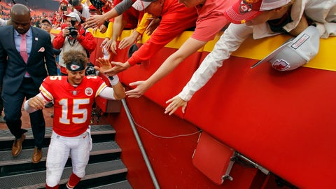<p>               Kansas City Chiefs quarterback Patrick Mahomes (15) greets fans after an NFL football game against the Jacksonville Jaguars, Sunday, Oct. 7, 2018, in Kansas City, Mo. (AP Photo/Charlie Riedel)             </p>