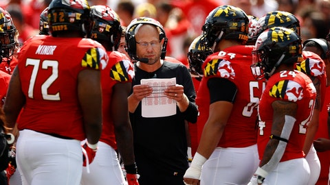 <p>               FILE - In this Saturday, Sept. 22, 2018, file photo, Maryland interim head coach Matt Canada, center, huddles with players in the first half of an NCAA college football game against Minnesota,, in College Park, Md. Playing the dual role of interim coach and offensive coordinator, Canada has kept the Terrapins (3-2, 1-1) in contention for a bowl bid during a season dedicated to fallen teammate Jordan McNair.  (AP Photo/Patrick Semansky, File)             </p>