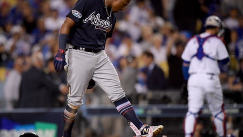 <p>               Atlanta Braves' Ronald Acuna Jr. reacts after striking out during the eighth inning against the Los Angeles Dodgers in Game 1 of a baseball National League Division Series on Thursday, Oct. 4, 2018, in Los Angeles. (AP Photo/Mark J. Terrill)             </p>
