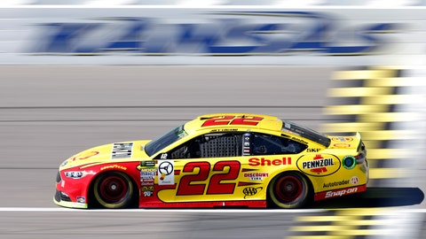 <p>               Driver Joey Logano (22) takes a lap during practice for the NASCAR Cup Series auto race at Kansas Speedway in Kansas City, Kan., Saturday, Oct. 20, 2018. (AP Photo/Colin E. Braley)             </p>