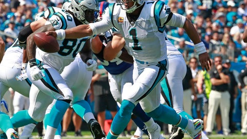 <p>               Carolina Panthers' Cam Newton (1) rooms out against the New York Giants in the first half of an NFL football game in Charlotte, N.C., Sunday, Oct. 7, 2018. (AP Photo/Jason E. Miczek)             </p>