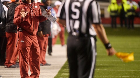 <p>               Arkansas coach Chad Morris talks with an official after a penalty during the first half of the team's NCAA college football game against Mississippi on Saturday, Oct. 13, 2018, in Little Rock, Ark. (AP Photo/Michael Woods)             </p>
