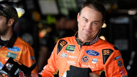 <p>               Kevin Harvick smiles in the garage area before practice for the NASCAR Cup series auto race, Saturday, Oct. 6, 2018, at Dover International Speedway in Dover, Del. (AP Photo/Nick Wass)             </p>