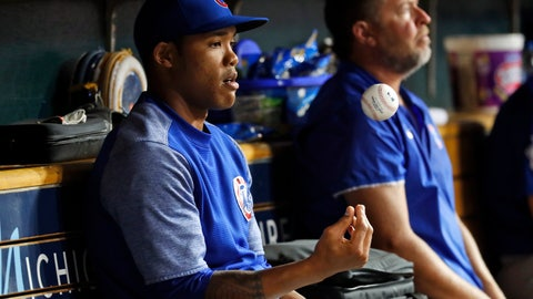 <p>               FILE - In this Aug. 21, 2018, file photo, Chicago Cubs' Addison Russell flips a baseball in the dugout in the sixth inning of a baseball game against the Detroit Tigers in Detroit, Russell was placed on administrative leave Friday, Sept. 21, 2018, following fresh allegations of domestic violence by his ex-wife. (AP Photo/Paul Sancya, File)             </p>