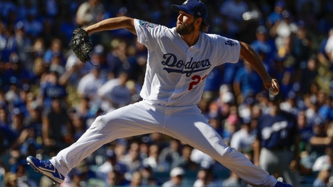 <p>               Los Angeles Dodgers starting pitcher Clayton Kershaw throws during the first inning of Game 5 of the National League Championship Series baseball game against the Milwaukee Brewers Wednesday, Oct. 17, 2018, in Los Angeles. (AP Photo/Matt Slocum)             </p>