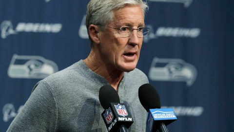 <p>               Seattle Seahawks NFL football head coach Pete Carroll talks to reporters Tuesday, Oct. 16, 2018, at Seahawks headquarters in Renton, Wash. Carroll spent most of his weekly press conference talking about team owner Paul Allen, who died Monday, Oct. 15, 2018 in Seattle. (AP Photo/Ted S. Warren)             </p>