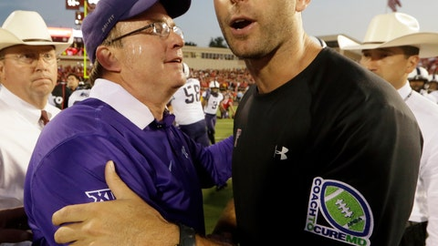 <p>               FILE - In this Sept. 26, 2015, file photo, Texas Tech head coach Kliff Kingsbury, right, shakes hands hands with TCU head coach Gary Patterson after TCU won 55-52 in an NCAA college football game in Lubbock, Texas. TCU defensive guru Gary Patterson and Texas Tech offensive mastermind Kliff Kingsbury both express admiration for how the other coach excels at his specialty. (AP Photo/LM Otero, File)             </p>