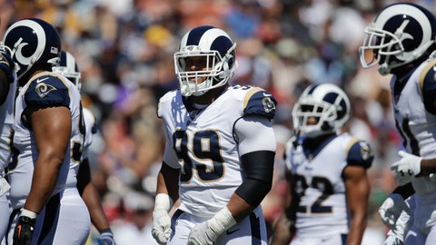 <p>               FILE - In this Sept. 16, 2018, file photo, Los Angeles Rams defensive tackle Aaron Donald stands on the field with teammates during an NFL football game against the Arizona Cardinals in Los Angeles. Although the Rams don't really have many areas of major concern after a 5-0 start, Donald thinks the Rams' rushing defense qualifies as something that needs fixing on this smoothly running machine. The All-Pro defensive tackle intends to make sure they do it. (AP Photo/Jae C. Hong, File)             </p>