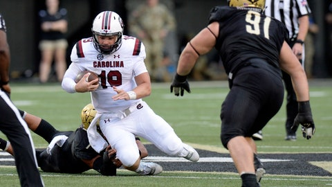 <p>               FILE - In this Sept. 22, 2018, file photo, South Carolina quarterback Jake Bentley (19) is forced to the ground by Vanderbilt linebacker Dimitri Moore (7), left, during the second half of an NCAA college football game, in Nashville, Tenn. South Carolina hoped to have more to look forward to on its off week than correcting problems coaches believed were already fixed when the season began.  The Gamecocks (3-3, 2-3 Southeastern Conference) expected improved quarterback play, sure-handed receivers and a stronger run game than the first two years under coach Will Muschamp. (AP Photo/Mark Zaleski, File)             </p>