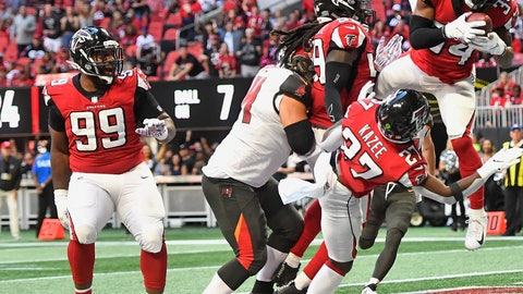 <p>               Atlanta Falcons cornerback Brian Poole (34) picks up an interception against the Tampa Bay Buccaneers during the second half of an NFL football game, Sunday, Oct. 14, 2018, in Atlanta. (AP Photo/John Amis)             </p>