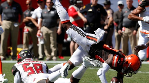 <p>               Cleveland Browns wide receiver Jarvis Landry (80) is upended by Tampa Bay Buccaneers outside linebacker Kwon Alexander (58) after a reception during the first half of an NFL football game Sunday, Oct. 21, 2018, in Tampa, Fla. (AP Photo/Mark LoMoglio)             </p>