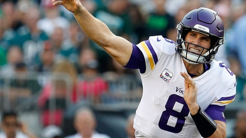 <p>               FILE - In this Oct. 7, 2018, file photo, Minnesota Vikings quarterback Kirk Cousins throws during an NFL football game against the Philadelphia Eagles, in Philadelphia. The Minnesota Vikings have become a prolific passing team under new quarterback Kirk Cousins. (Winslow Townson/File)             </p>