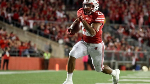 <p>               FILE - In this Saturday, Oct. 6, 2018, file photo, Wisconsin's Jonathan Taylor runs for a touchdown during the second half of an NCAA college football game against Nebraska in Madison, Wis. The Badgers need consistent production from Taylor at the Big House. (AP Photo/Morry Gash, File)             </p>