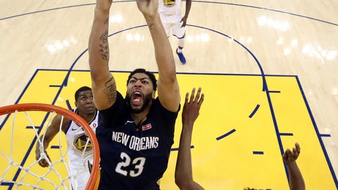 <p>               FILE - In this May 8, 2018, file photo, New Orleans Pelicans' Anthony Davis, center, goes up for a shot as Golden State Warriors' Kevon Looney, bottom left, and Kevin Durant defend during the first half in Game 5 of an NBA basketball second-round playoff series, in Oakland, Calif. The Pelicans have moved on from DeMarcus Cousins and Rajon Rondo. They've gotten younger, intend to play faster and hope that helps All-Star Anthony Davis carry the team even farther than last year's second-round playoff exit. (Ezra Shaw/Pool Photo via AP, File)             </p>