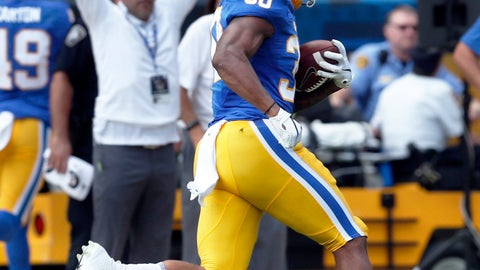 <p>               Pittsburgh running back Qadree Ollison (30) runs for a touchdown run during the first quarter of an NCAA football game against Syracuse, Saturday, Oct. 6, 2018, in Pittsburgh. (AP Photo/Keith Srakocic)             </p>