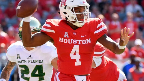 <p>               Houston quarterback D'Eriq King (4)  looks to pass during the first half of an NCAA college football game against South Florida, Saturday, Oct. 27, 2018, in Houston. (AP Photo/Eric Christian Smith)             </p>