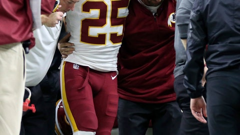 <p>               FILE - In this Nov. 19, 2017, file photo, Washington Redskins running back Chris Thompson (25) is helped onto a cart after he was injured in the second half of an NFL football game against the New Orleans Saints in New Orleans. Thompson returns to the Superdome in New Orleans on Sunday for the first time since fracturing his right fibula there last season. He is back to form finally after months of recovery and gives the Redskins almost the perfect complementary back to Adrian Peterson and a necessary piece of the passing game. (AP Photo/Rusty Costanza, File)             </p>
