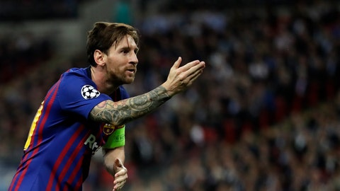 <p>               Barcelona forward Lionel Messi celebrates after scoring his side's third goal during the Champions League Group B soccer match between Tottenham Hotspur and Barcelona at Wembley Stadium in London, Wednesday, Oct. 3, 2018. (AP Photo/Kirsty Wigglesworth)             </p>